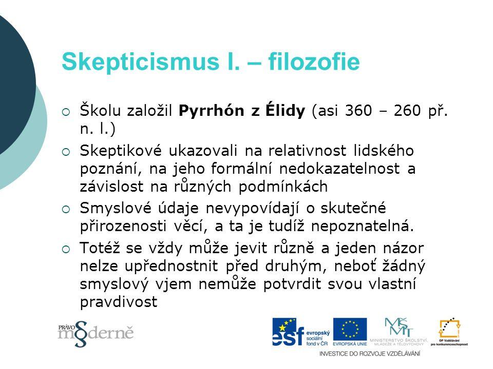 Skepticismus I. – filozofie  Školu založil Pyrrhón z Élidy (asi 360 – 260 př.