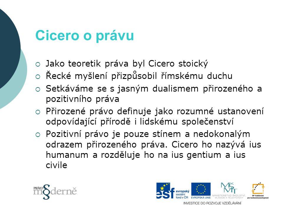 Cicero o právu  Jako teoretik práva byl Cicero stoický  Řecké myšlení přizpůsobil římskému duchu  Setkáváme se s jasným dualismem přirozeného a pozitivního práva  Přirozené právo definuje jako rozumné ustanovení odpovídající přírodě i lidskému společenství  Pozitivní právo je pouze stínem a nedokonalým odrazem přirozeného práva.