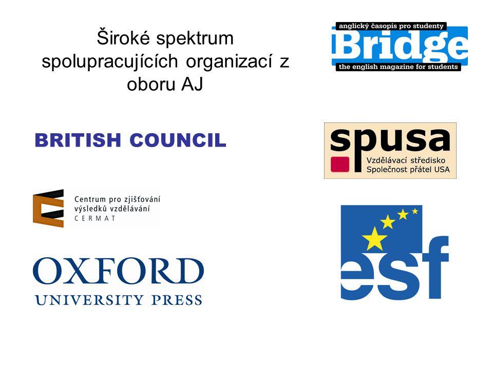 Široké spektrum spolupracujících organizací z oboru AJ BRITISH COUNCIL
