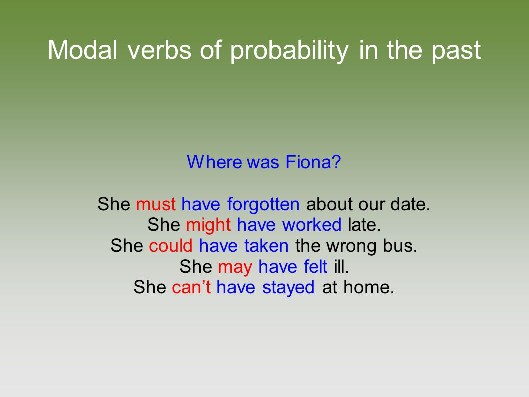 Modal verbs of probability in the past Where was Fiona? She must have forgotten about our date. She might have worked late. She could have taken the w