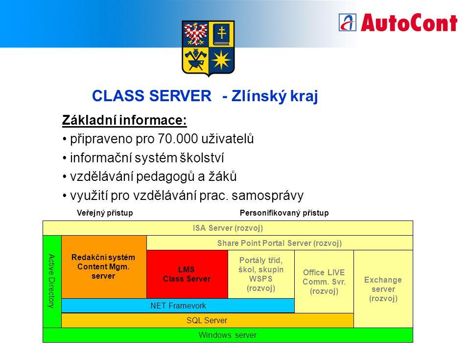 CLASS SERVER - Zlínský kraj Základní informace: připraveno pro 70.000 uživatelů informační systém školství vzdělávání pedagogů a žáků využití pro vzdělávání prac.