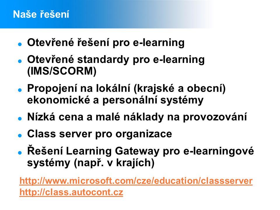 Naše řešení  Otevřené řešení pro e-learning  Otevřené standardy pro e-learning (IMS/SCORM)  Propojení na lokální (krajské a obecní) ekonomické a personální systémy  Nízká cena a malé náklady na provozování  Class server pro organizace  Řešení Learning Gateway pro e-learningové systémy (např.