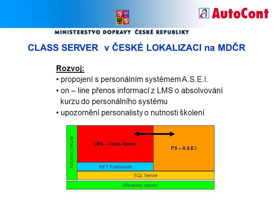 CLASS SERVER v ČESKÉ LOKALIZACI na MDČR Rozvoj: propojení s personálním systémem A.S.E.I. on – line přenos informací z LMS o absolvování kurzu do pers