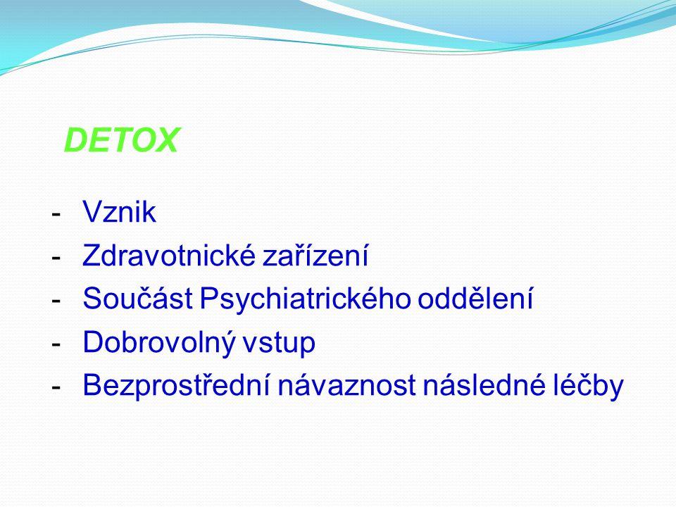 - Vznik - Zdravotnické zařízení - Součást Psychiatrického oddělení - Dobrovolný vstup - Bezprostřední návaznost následné léčby DETOX
