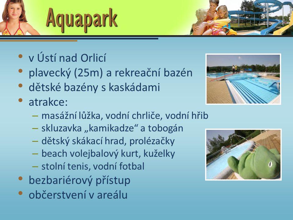 Aquapark v Ústí nad Orlicí plavecký (25m) a rekreační bazén dětské bazény s kaskádami atrakce: – masážní lůžka, vodní chrliče, vodní hřib – skluzavka