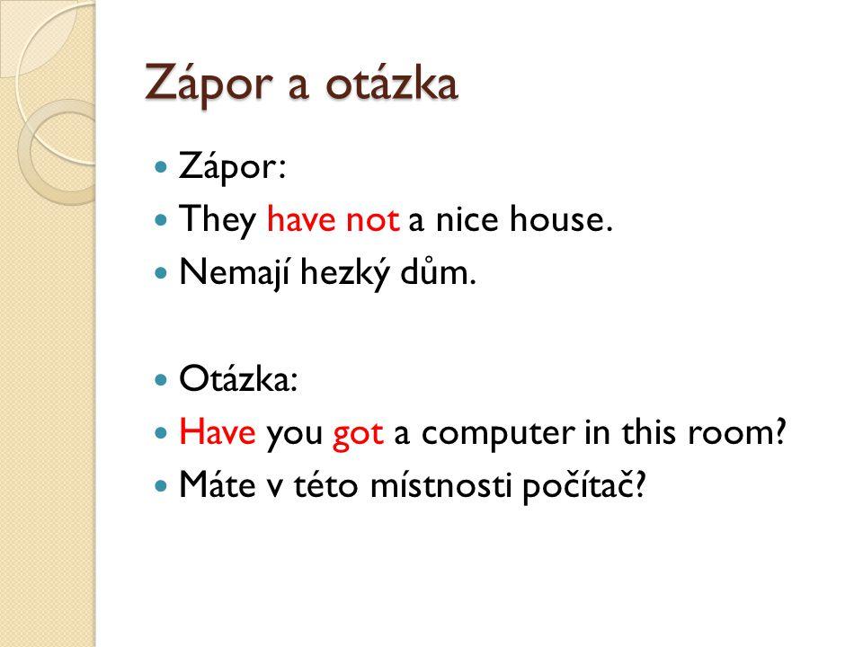 Zápor a otázka Zápor: They have not a nice house. Nemají hezký dům.