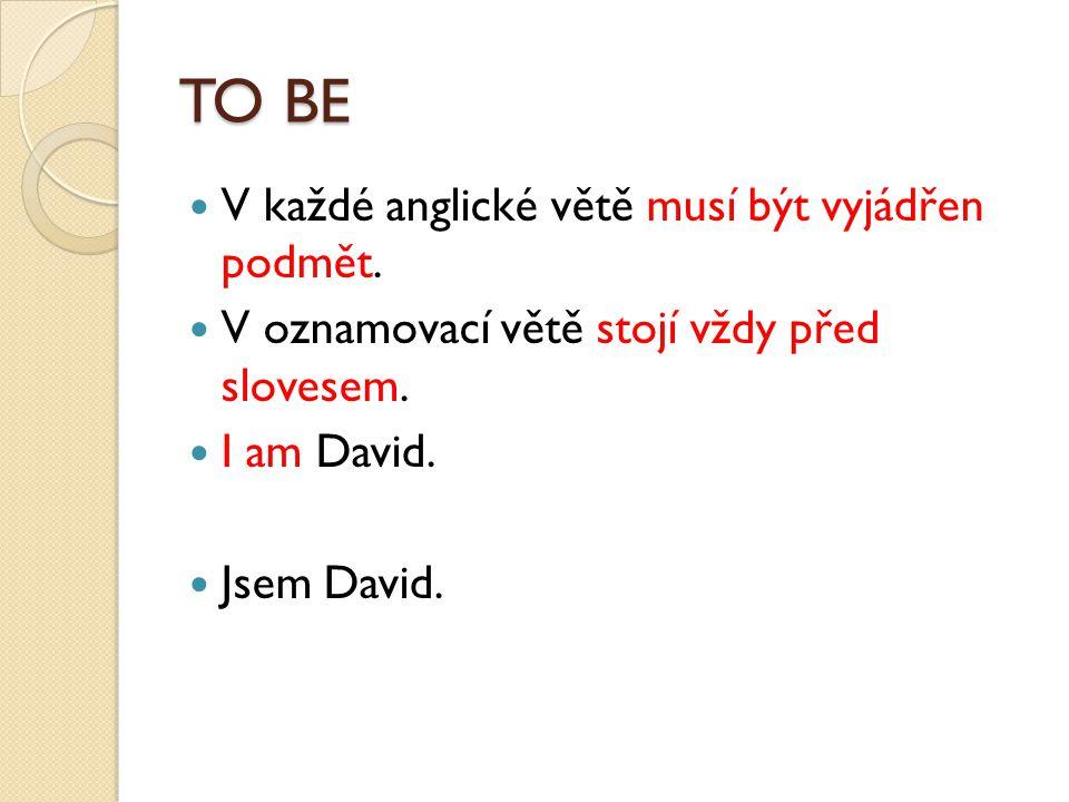 TO BE V každé anglické větě musí být vyjádřen podmět.