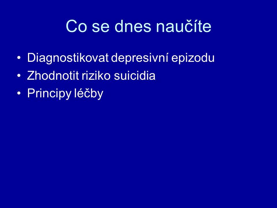 Co se dnes naučíte Diagnostikovat depresivní epizodu Zhodnotit riziko suicidia Principy léčby