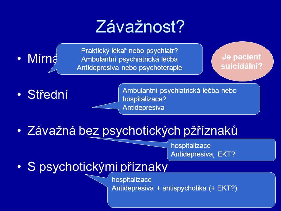 Závažnost? Mírná Střední Závažná bez psychotických pžříznaků S psychotickými příznaky Praktický lékař nebo psychiatr? Ambulantní psychiatrická léčba A