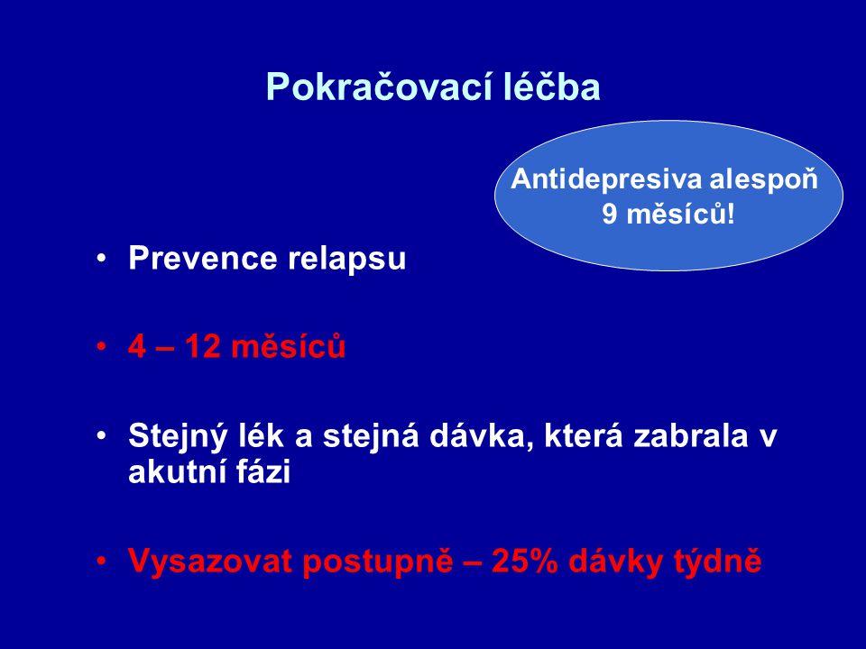Pokračovací léčba Prevence relapsu 4 – 12 měsíců Stejný lék a stejná dávka, která zabrala v akutní fázi Vysazovat postupně – 25% dávky týdně Antidepre