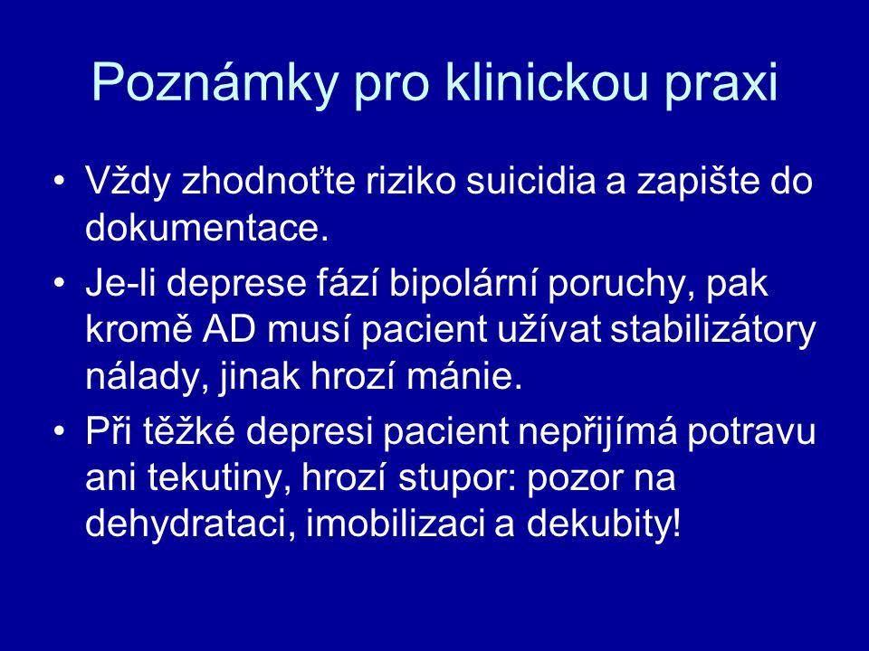Poznámky pro klinickou praxi Vždy zhodnoťte riziko suicidia a zapište do dokumentace. Je-li deprese fází bipolární poruchy, pak kromě AD musí pacient