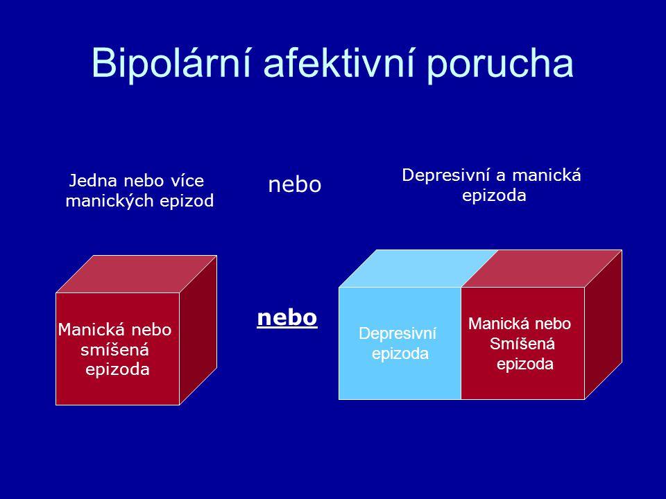 Bipolární afektivní porucha Depresivní epizoda Manická nebo Smíšená epizoda Manická nebo smíšená epizoda Jedna nebo více manických epizod nebo Depresivní a manická epizoda nebo