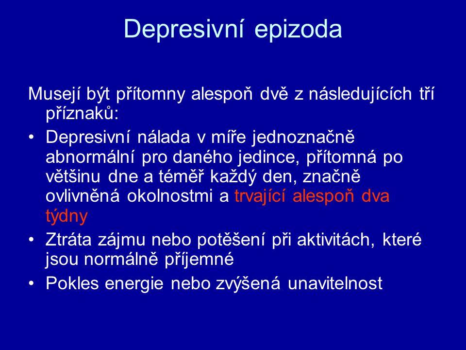 Depresivní epizoda Musejí být přítomny alespoň dvě z následujících tří příznaků: Depresivní nálada v míře jednoznačně abnormální pro daného jedince, přítomná po většinu dne a téměř každý den, značně ovlivněná okolnostmi a trvající alespoň dva týdny Ztráta zájmu nebo potěšení při aktivitách, které jsou normálně příjemné Pokles energie nebo zvýšená unavitelnost