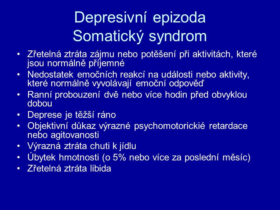 Depresivní epizoda Somatický syndrom Zřetelná ztráta zájmu nebo potěšení při aktivitách, které jsou normálně příjemné Nedostatek emočních reakcí na ud