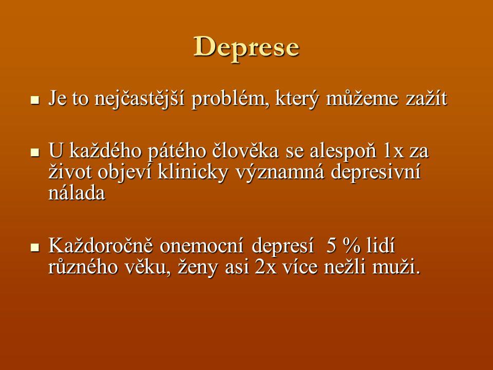Deprese Je to nejčastější problém, který můžeme zažít Je to nejčastější problém, který můžeme zažít U každého pátého člověka se alespoň 1x za život objeví klinicky významná depresivní nálada U každého pátého člověka se alespoň 1x za život objeví klinicky významná depresivní nálada Každoročně onemocní depresí 5 % lidí různého věku, ženy asi 2x více nežli muži.