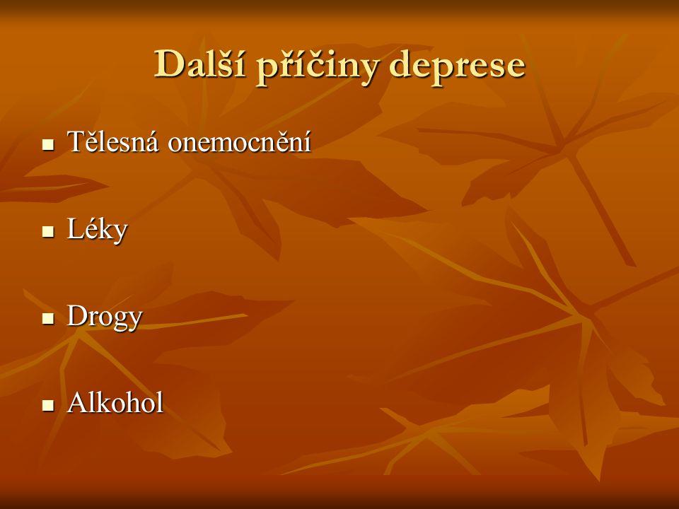 Další příčiny deprese Tělesná onemocnění Tělesná onemocnění Léky Léky Drogy Drogy Alkohol Alkohol