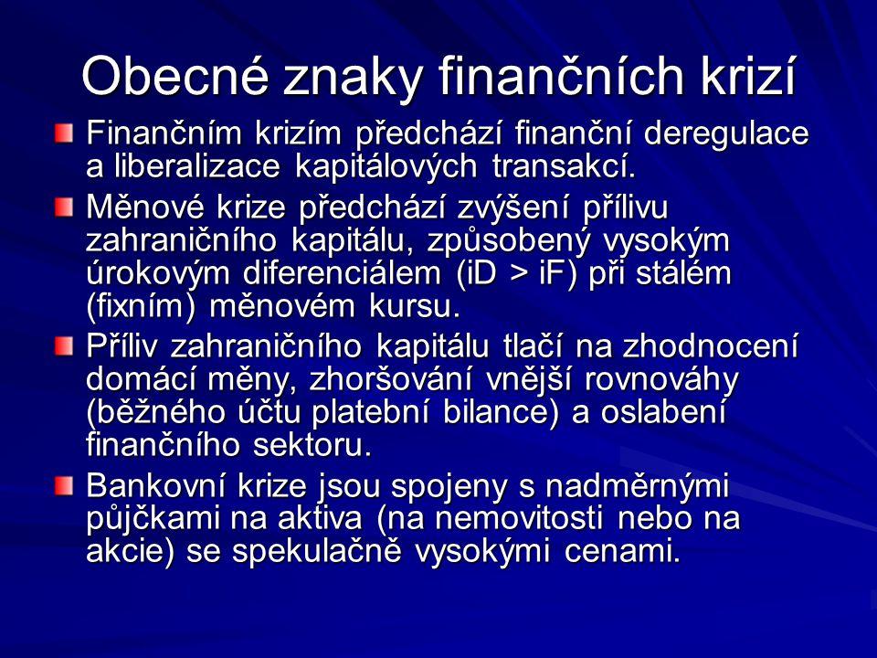 Obecné znaky finančních krizí Finančním krizím předchází finanční deregulace a liberalizace kapitálových transakcí.