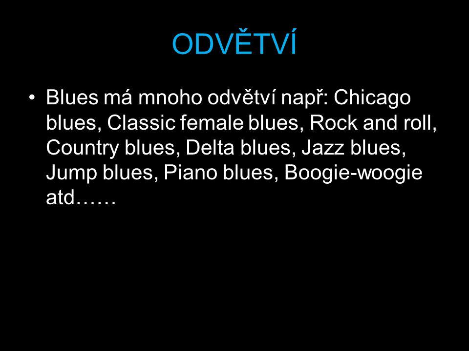 ODVĚTVÍ Blues má mnoho odvětví např: Chicago blues, Classic female blues, Rock and roll, Country blues, Delta blues, Jazz blues, Jump blues, Piano blues, Boogie-woogie atd……