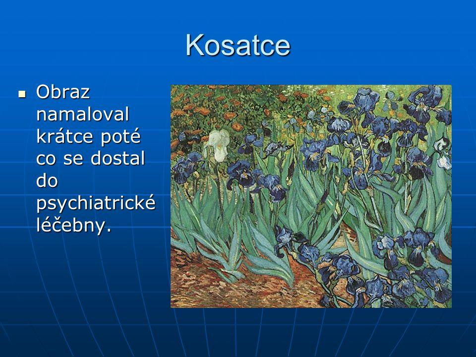 Kosatce Obraz namaloval krátce poté co se dostal do psychiatrické léčebny. Obraz namaloval krátce poté co se dostal do psychiatrické léčebny.