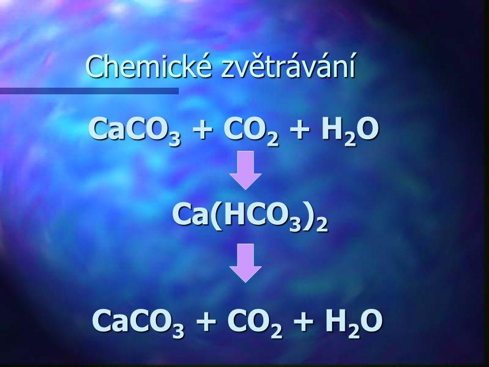Chemické zvětrávání CaCO 3 + CO 2 + H 2 O Ca(HCO 3 ) 2 CaCO 3 + CO 2 + H 2 O