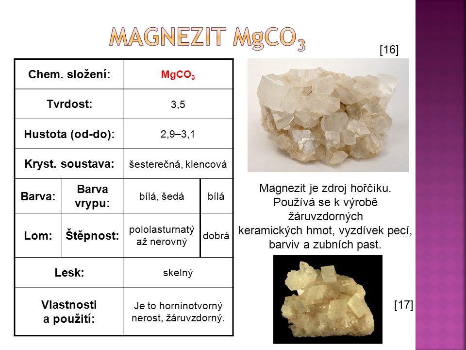 Chem. složení: MgCO 3 Tvrdost: 3,5 Hustota (od-do): 2,9–3,1 Kryst. soustava: šesterečná, klencová Barva: Barva vrypu: bílá, šedábílá Lom:Štěpnost: pol