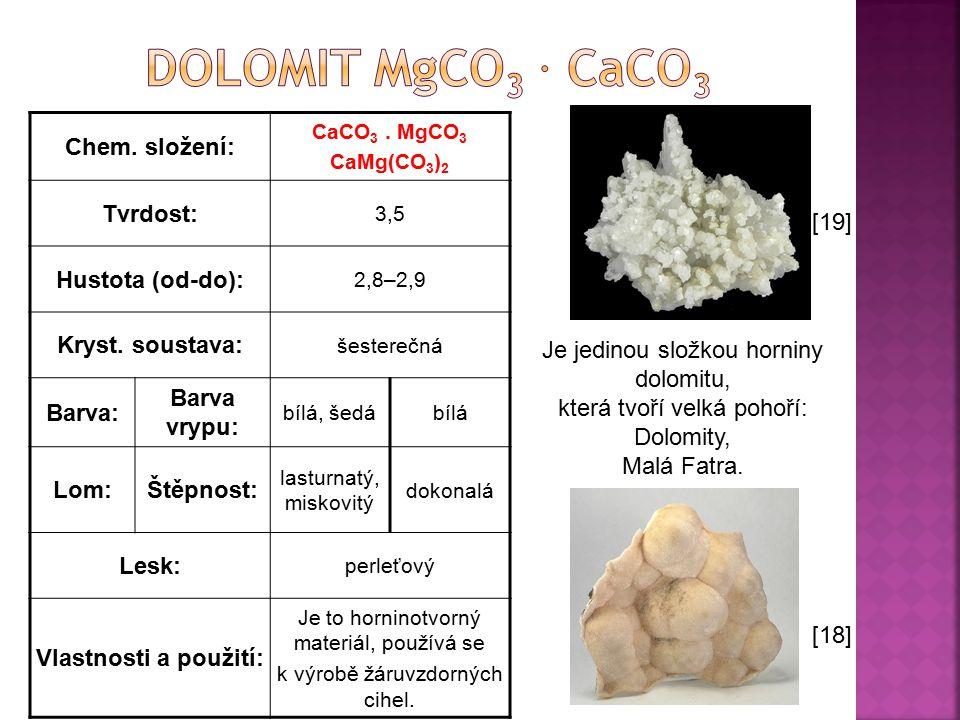 Chem. složení: CaCO 3. MgCO 3 CaMg(CO 3 ) 2 Tvrdost: 3,5 Hustota (od-do): 2,8–2,9 Kryst. soustava: šesterečná Barva: Barva vrypu: bílá, šedábílá Lom:Š