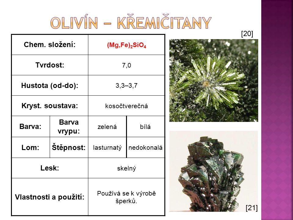Chem. složení: (Mg,Fe) 2 SiO 4 Tvrdost: 7,0 Hustota (od-do): 3,3–3,7 Kryst. soustava: kosočtverečná Barva: Barva vrypu: zelenábílá Lom:Štěpnost: lastu