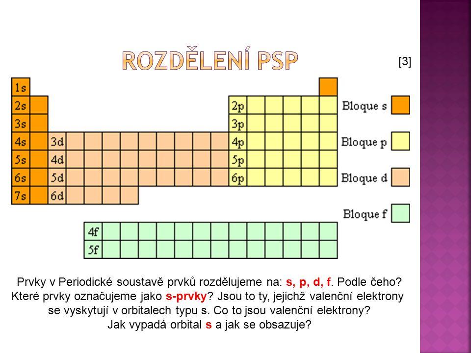 Prvky v Periodické soustavě prvků rozdělujeme na: s, p, d, f. Podle čeho? Které prvky označujeme jako s-prvky? Jsou to ty, jejichž valenční elektrony