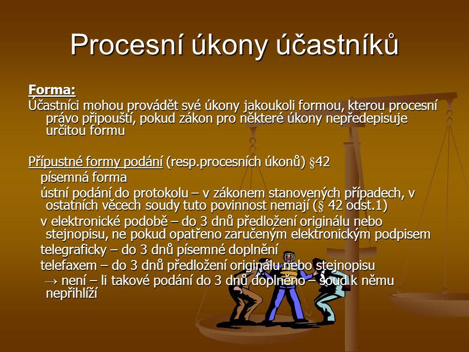 Procesní úkony účastníků Forma: Účastníci mohou provádět své úkony jakoukoli formou, kterou procesní právo připouští, pokud zákon pro některé úkony ne
