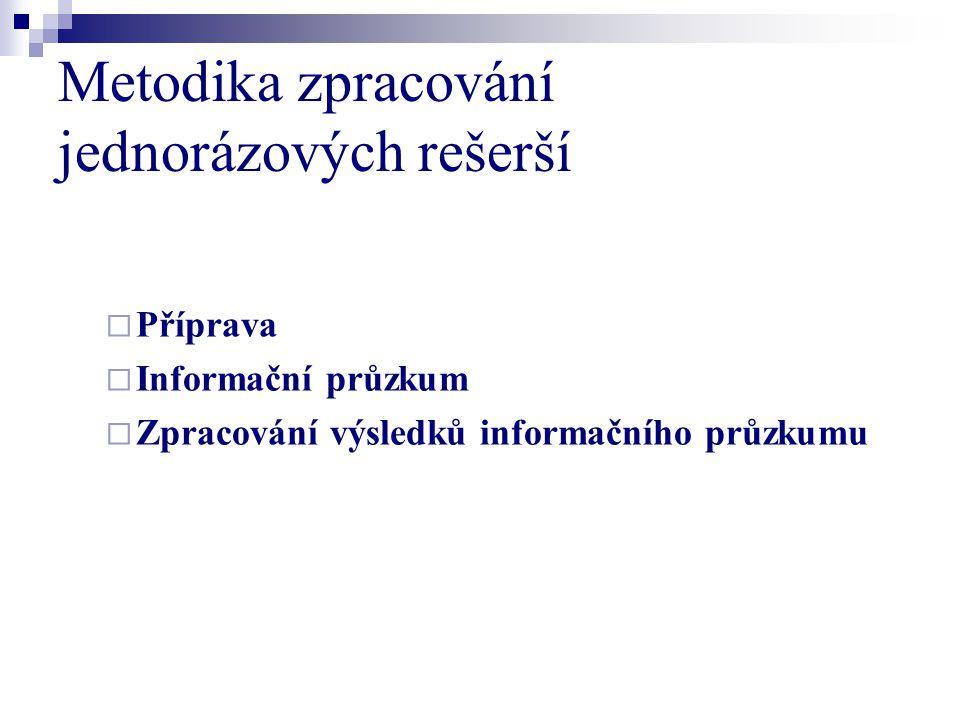 Metodika zpracování jednorázových rešerší  Příprava  Informační průzkum  Zpracování výsledků informačního průzkumu