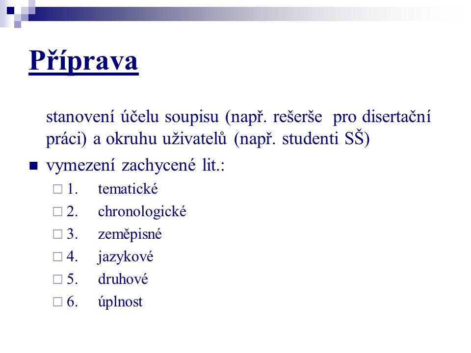 Příprava stanovení účelu soupisu (např. rešerše pro disertační práci) a okruhu uživatelů (např. studenti SŠ) vymezení zachycené lit.:  1. tematické 