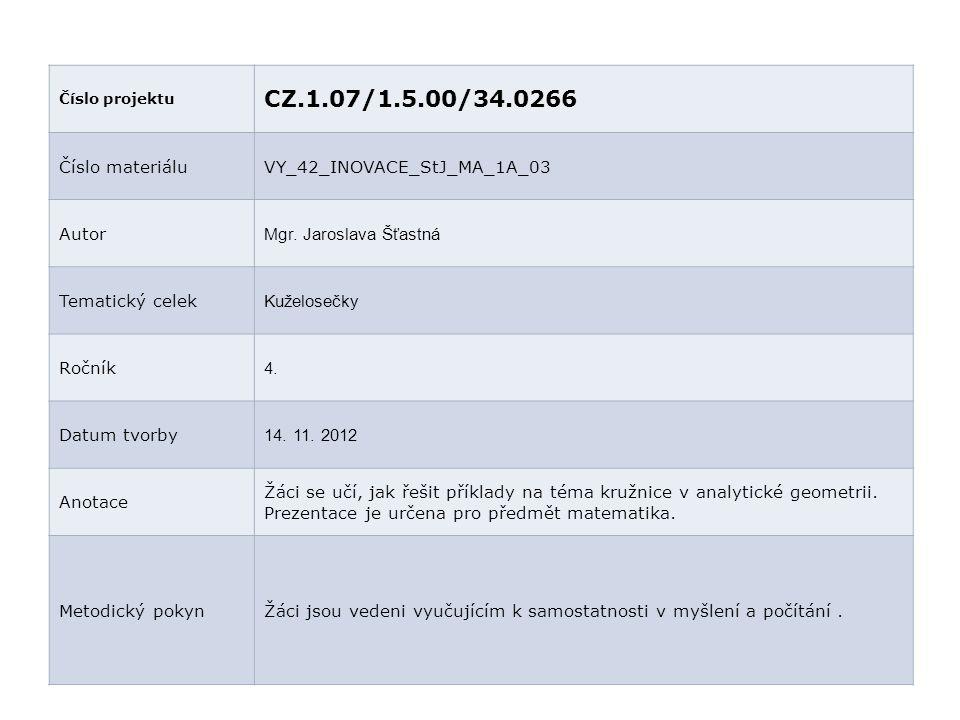 Číslo projektu CZ.1.07/1.5.00/34.0266 Číslo materiáluVY_42_INOVACE_StJ_MA_1A_03 Autor Mgr. Jaroslava Šťastná Tematický celek Kuželosečky Ročník 4. Dat