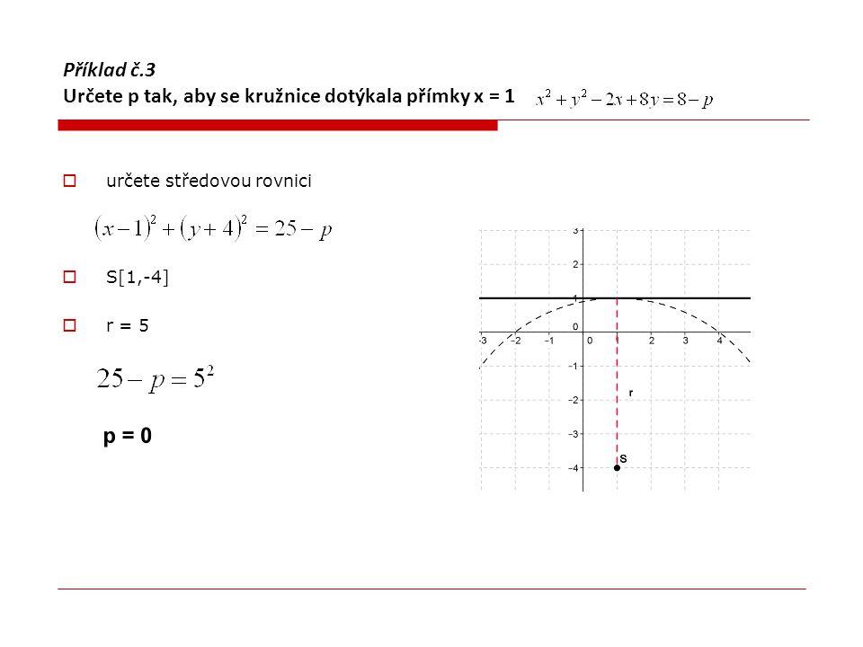 Příklad č.4 Napsat rovnici kružnice, která se dotýká obou souřadných os a prochází bodem L [-1,-2]  Střed kružnice, která se dotýká obou souřadných má obě dvě souřadnice stejné !!.