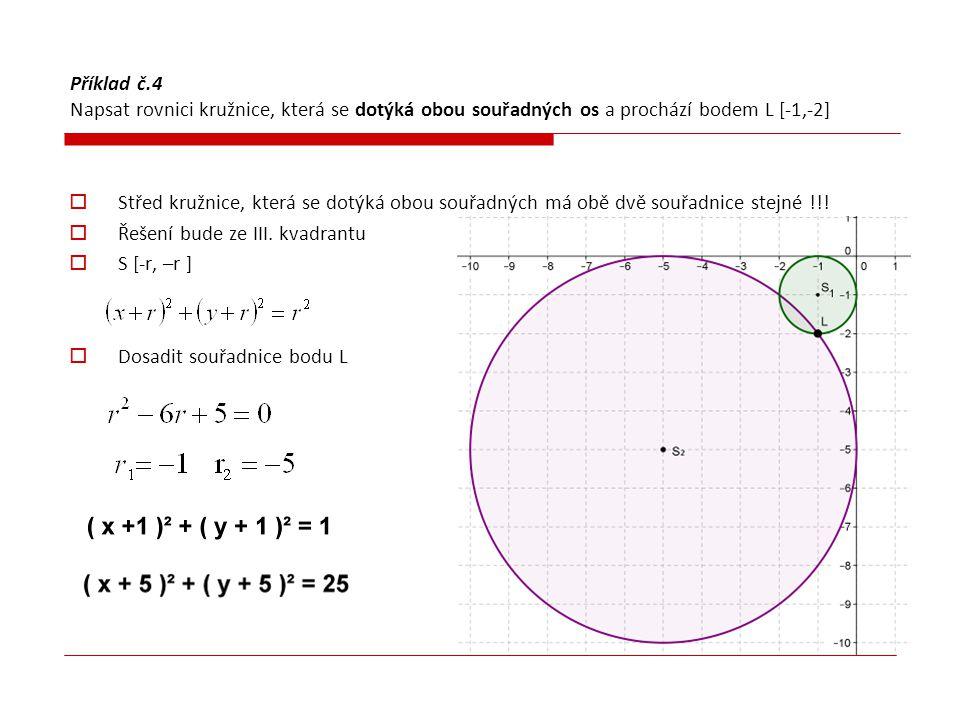 Příklad č.4 Napsat rovnici kružnice, která se dotýká obou souřadných os a prochází bodem L [-1,-2]  Střed kružnice, která se dotýká obou souřadných m