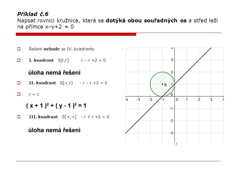 Příklad č.6 Napsat rovnici kružnice, která se dotýká obou souřadných os a střed leží na přímce x–y+2 = 0  Řešení nebude ze IV. kvadrantu  I. kvadran