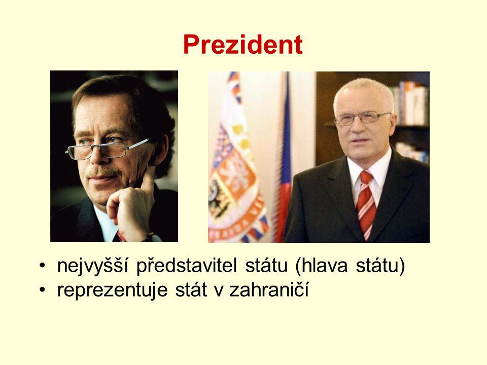 Prezident nejvyšší představitel státu (hlava státu) reprezentuje stát v zahraničí