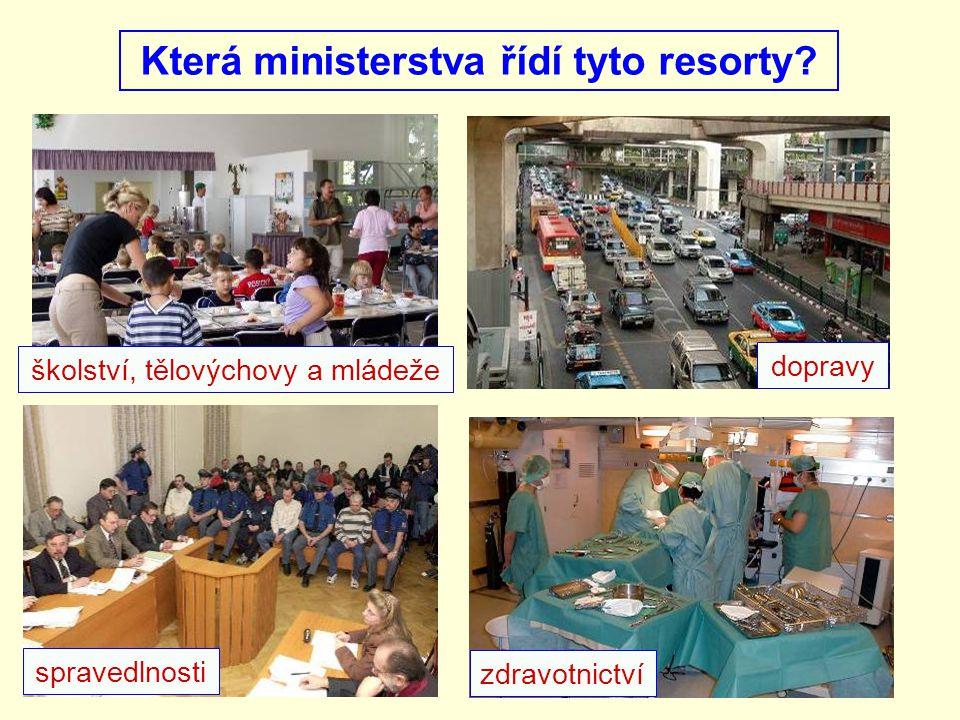 Která ministerstva řídí tyto resorty? školství, tělovýchovy a mládeže dopravy zdravotnictví spravedlnosti