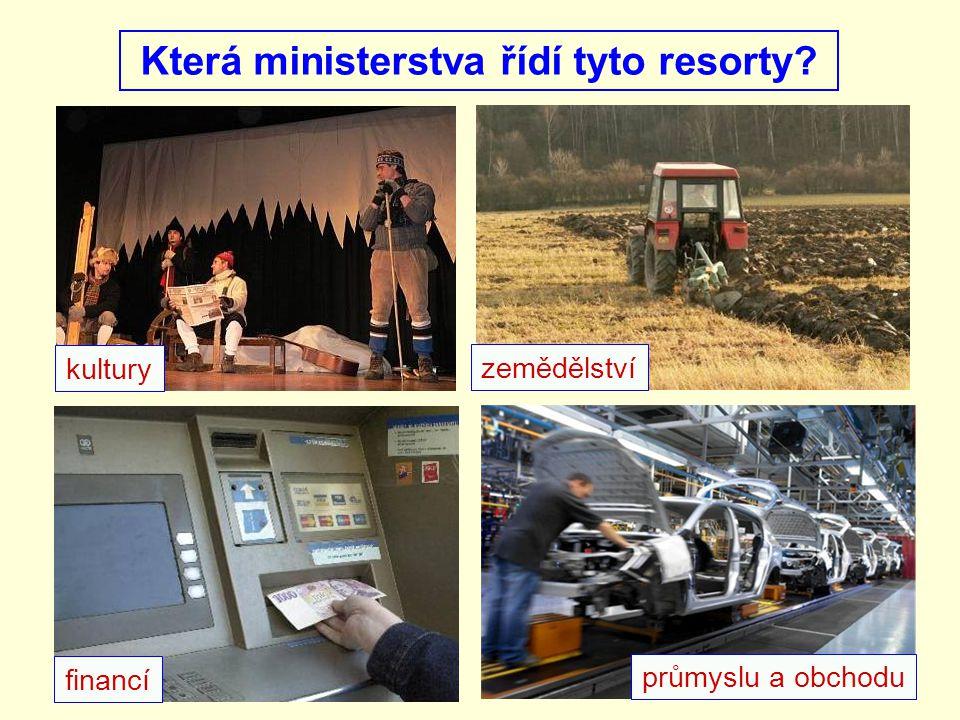 Která ministerstva řídí tyto resorty? financí průmyslu a obchodu zemědělství kultury