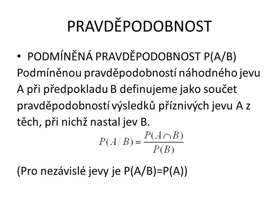 PRAVDĚPODOBNOST PODMÍNĚNÁ PRAVDĚPODOBNOST P(A/B) Podmíněnou pravděpodobností náhodného jevu A při předpokladu B definujeme jako součet pravděpodobnost