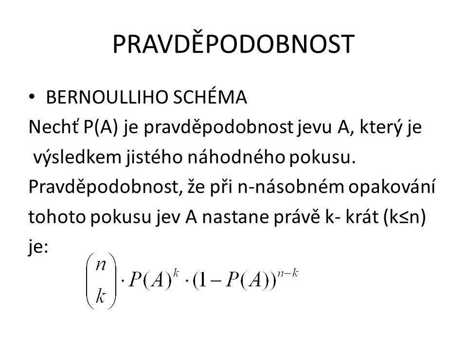 PRAVDĚPODOBNOST BERNOULLIHO SCHÉMA Nechť P(A) je pravděpodobnost jevu A, který je výsledkem jistého náhodného pokusu. Pravděpodobnost, že při n-násobn