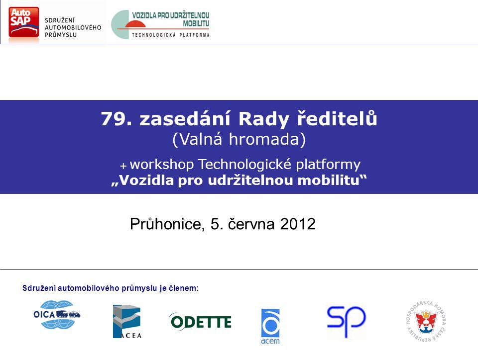 """79. zasedání Rady ředitelů (Valná hromada) + workshop Technologické platformy """"Vozidla pro udržitelnou mobilitu"""" Průhonice, 5. června 2012 Sdružení au"""