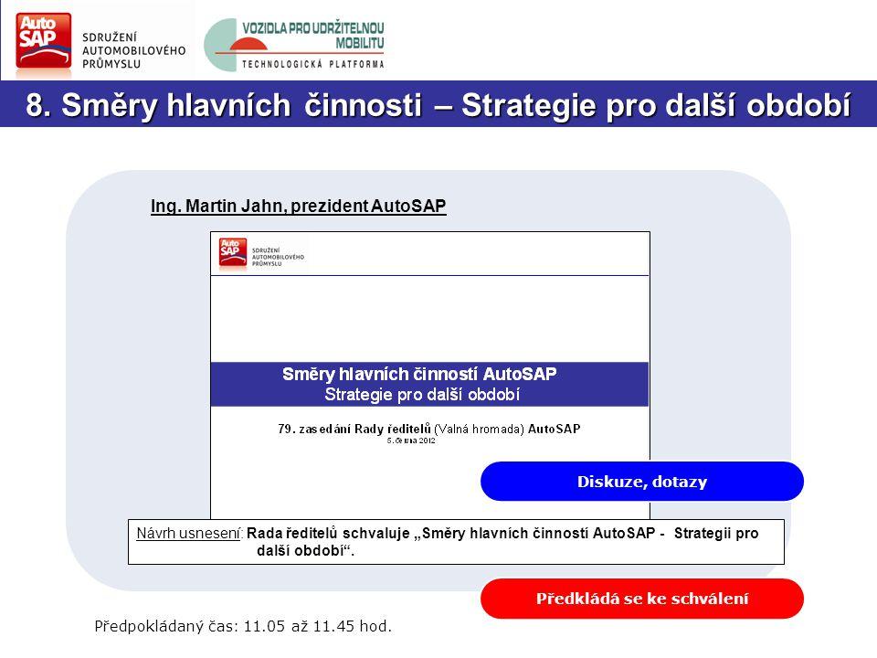 8. Směry hlavních činnosti – Strategie pro další období Předpokládaný čas: 11.05 až 11.45 hod.
