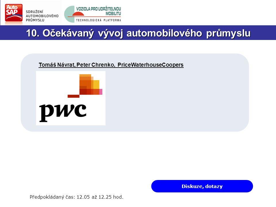10. Očekávaný vývoj automobilového průmyslu Diskuze, dotazy Předpokládaný čas: 12.05 až 12.25 hod.