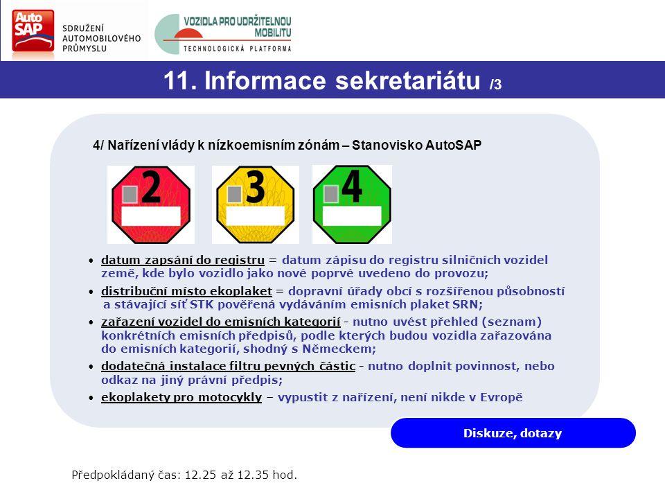 Diskuze, dotazy 11. Informace sekretariátu /3 4/ Nařízení vlády k nízkoemisním zónám – Stanovisko AutoSAP Předpokládaný čas: 12.25 až 12.35 hod. datum