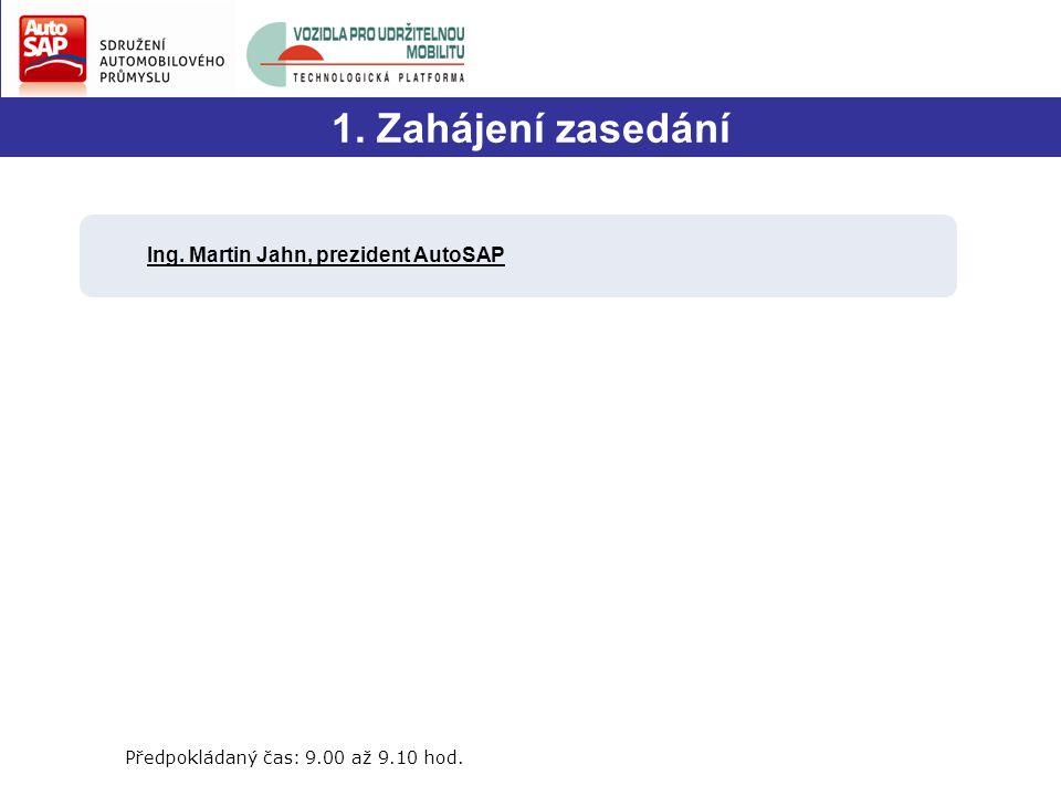 1. Zahájení zasedání Ing. Martin Jahn, prezident AutoSAP Předpokládaný čas: 9.00 až 9.10 hod.