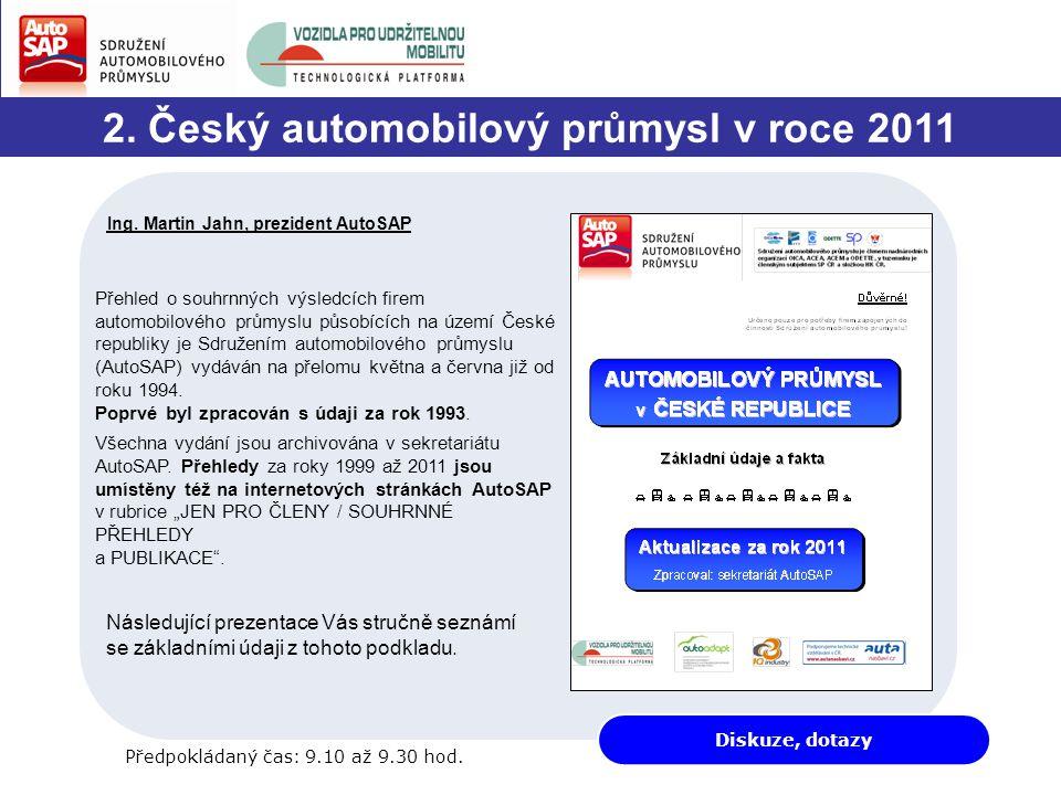 Diskuze, dotazy 2. Český automobilový průmysl v roce 2011 Ing.