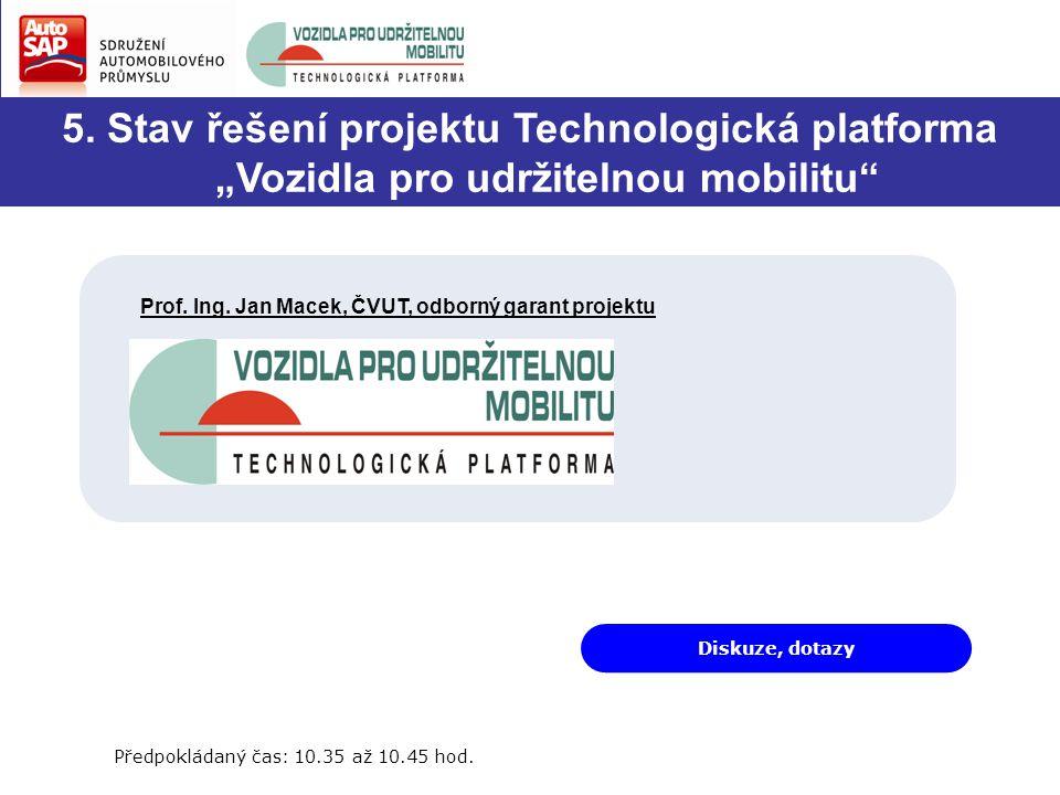 """Diskuze, dotazy 5. Stav řešení projektu Technologická platforma """"Vozidla pro udržitelnou mobilitu"""" Prof. Ing. Jan Macek, ČVUT, odborný garant projektu"""