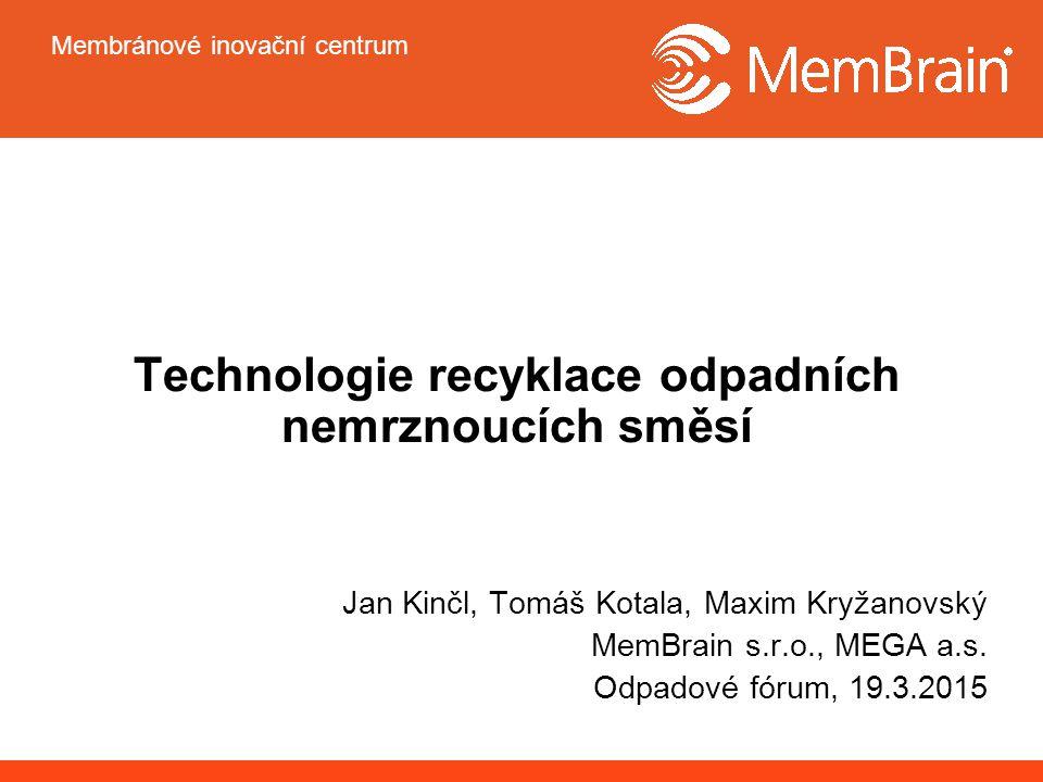 Membránové inovační centrum Recyklace odpadních nemrznoucích směsí Zařízení elektrodialýzy (ED) Laboratorní zařízení ED jednotka P EDR-Z/10-0,8, A=0,064m 2 iontovýměnné membrány Ralex ® od MEGA a.s.