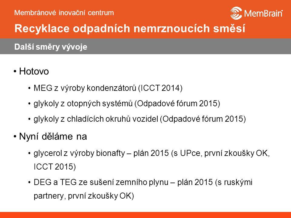 Membránové inovační centrum Recyklace odpadních nemrznoucích směsí Další směry vývoje Hotovo MEG z výroby kondenzátorů (ICCT 2014) glykoly z otopných systémů (Odpadové fórum 2015) glykoly z chladících okruhů vozidel (Odpadové fórum 2015) Nyní děláme na glycerol z výroby bionafty – plán 2015 (s UPce, první zkoušky OK, ICCT 2015) DEG a TEG ze sušení zemního plynu – plán 2015 (s ruskými partnery, první zkoušky OK)