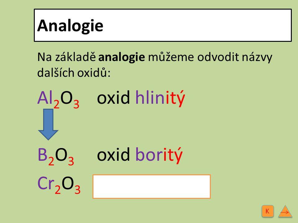 Analogie Na základě analogie můžeme odvodit názvy dalších oxidů: Al 2 O 3 oxid hlinitý B 2 O 3 oxid boritý Cr 2 O 3 oxid chromitý K K